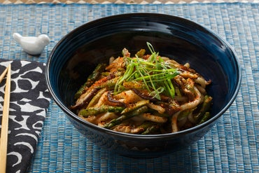 Fresh Udon Noodle Stir-Fry with Asparagus, Shiitake Mushrooms & Togarashi