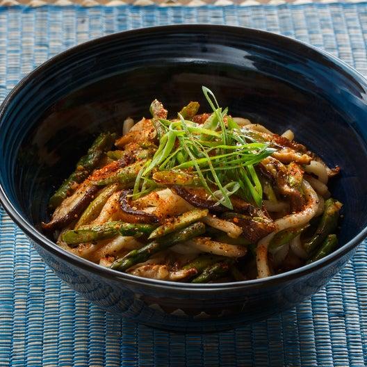 Fresh Udon Noodle Stir-Fry with Asparagus, Shiitake Mushrooms & Togarashi