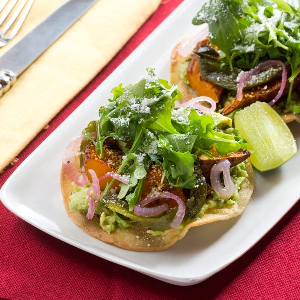 Spiced Sweet Potato & Poblano Tostadas with Guacamole & Pickled Shallot