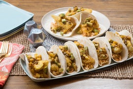 Crispy Cod & Cabbage Slaw Tacos with Avocado, Pineapple & Pepita Salsa