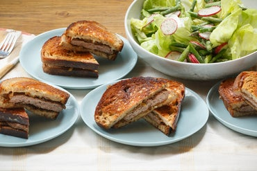 Swiss Cheese & Caramelized Onion Patty Melts with Asparagus, Radish & Butter Lettuce Salad
