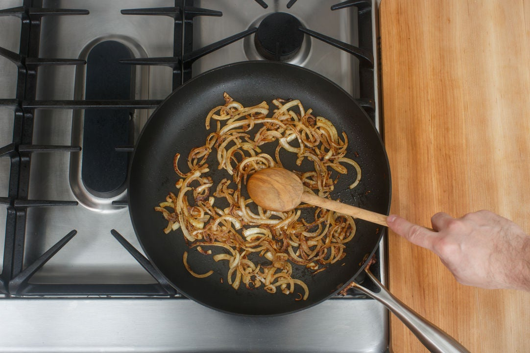 Caramelize the onions: