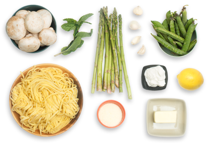 Creamy Spring Linguine with English Peas, Asparagus & Mint ingredients