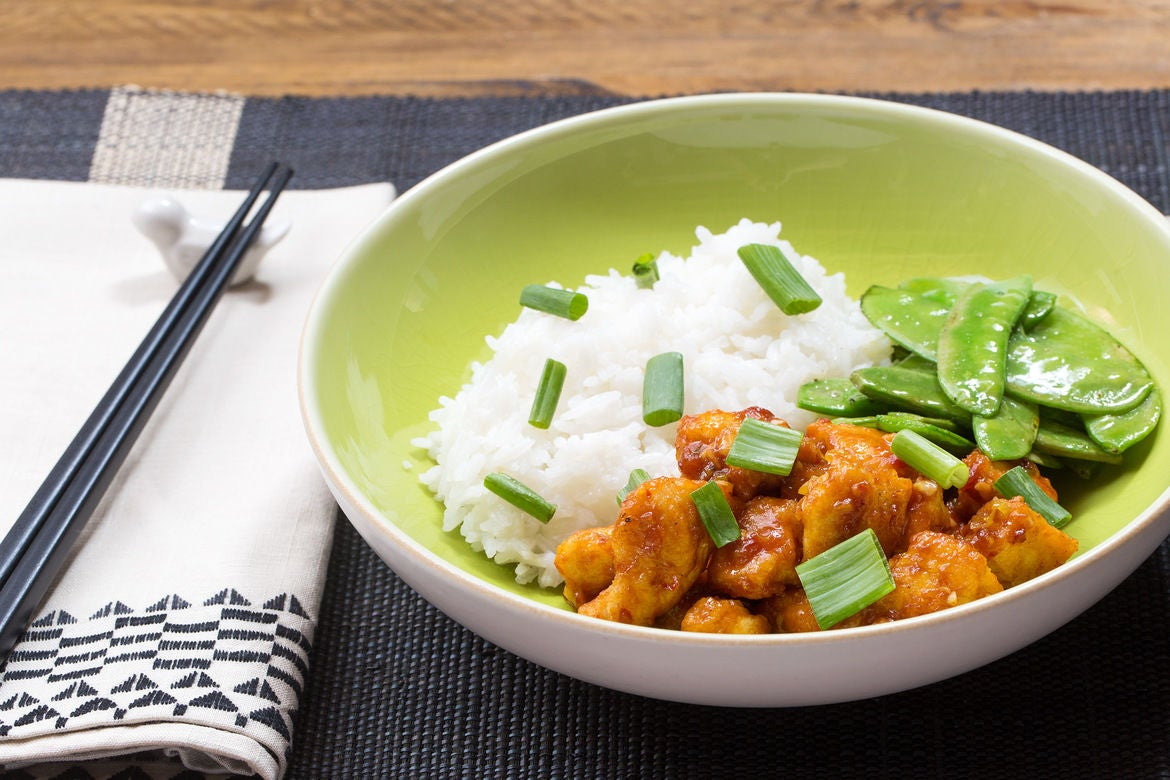 General Tso's Chicken with Sautéed Snow Peas & Jasmine Rice