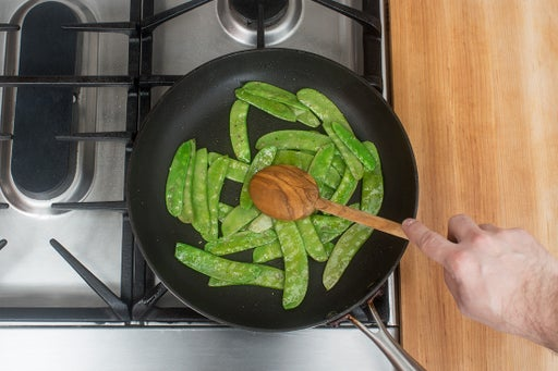 Cook the snow peas & plate your dish: