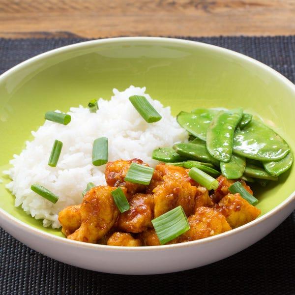 General Tso's Chicken with Sautéed Snow Peas & Jasmine Rice
