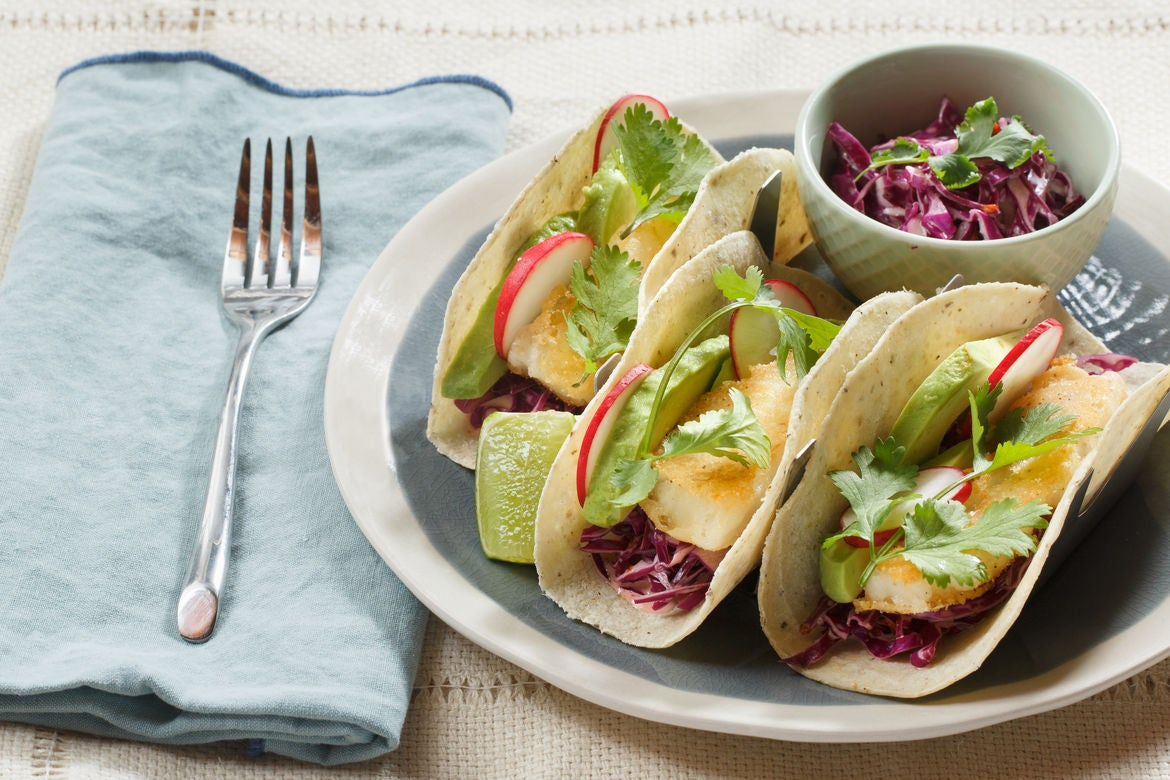 Recipe crispy cod tacos with chipotle cabbage slaw blue for Slaw recipe for fish tacos