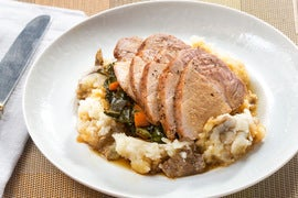 Roast Pork & Mashed Potato with Molasses-Stewed Collard Greens