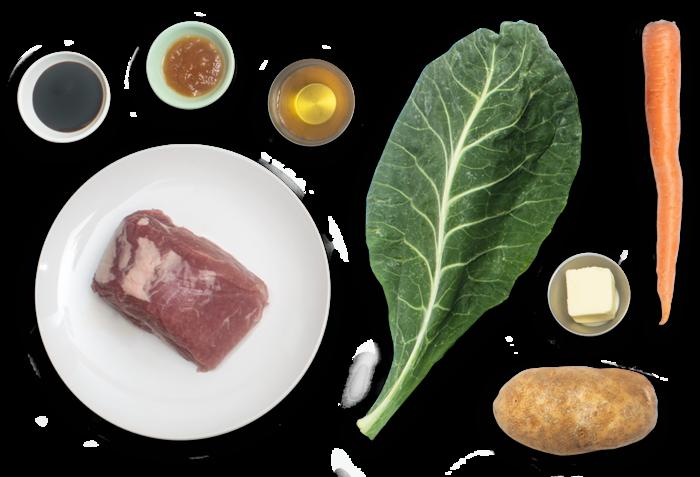 Roast Pork & Mashed Potato with Molasses-Stewed Collard Greens