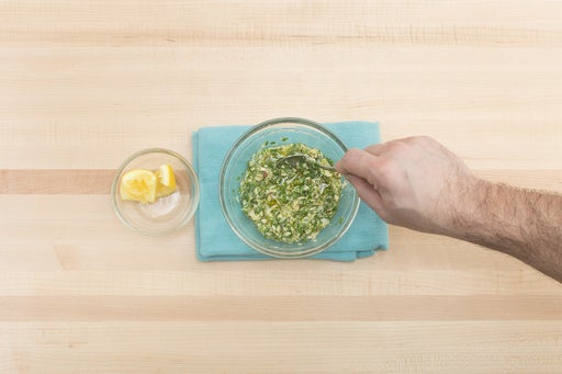 Make the salsa verde & serve your dish: