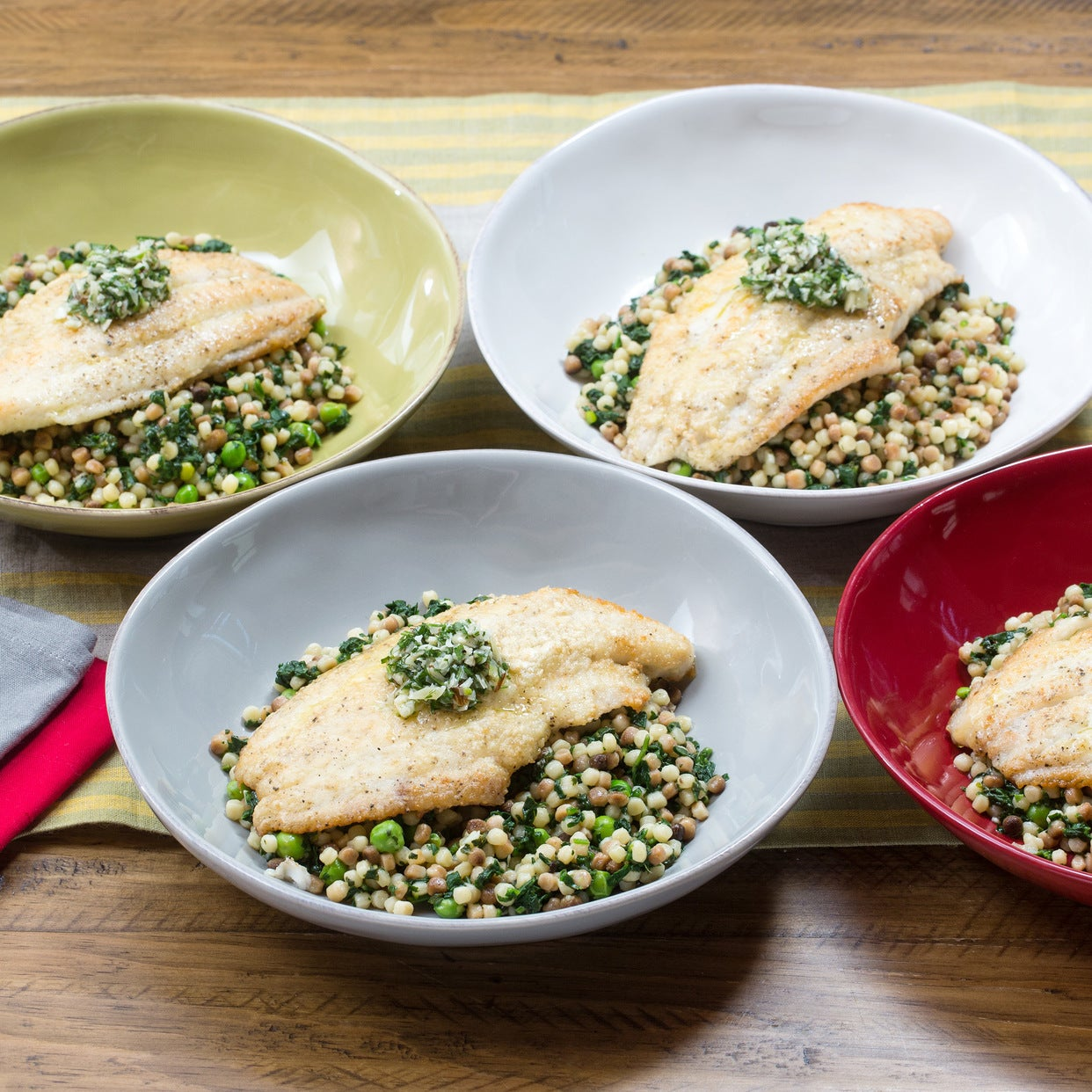 Crispy Catfish & Fregola Sarda with English Peas & Salsa Verde