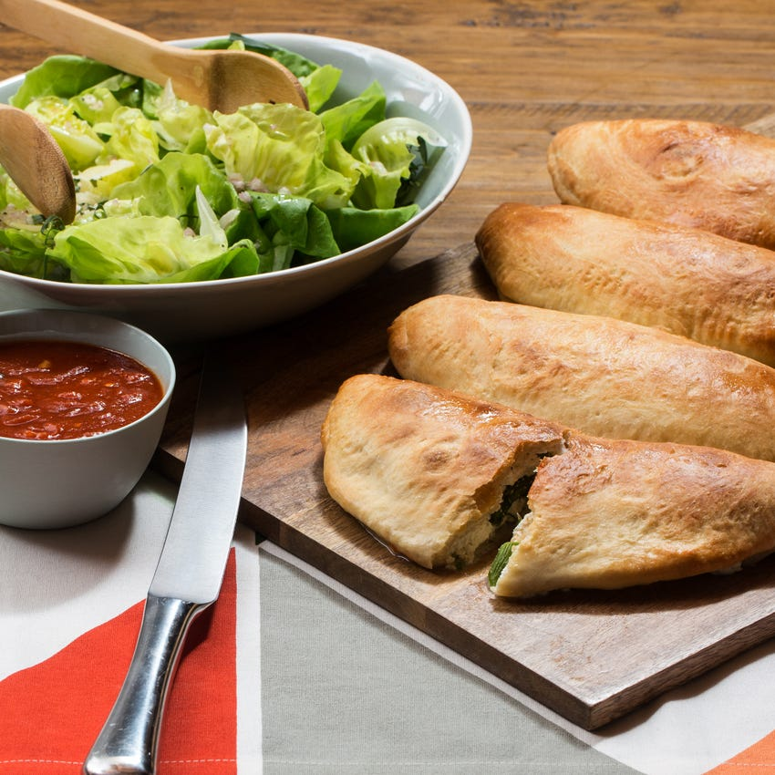 Spring Asparagus & Ricotta Calzones with Arrabbiata Dipping Sauce & Butter Lettuce Salad
