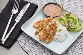 Chicken Sate with Peanut Sauce & Marinated Green Tomatoes