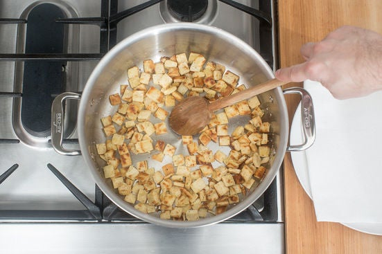 Make the pita croutons: