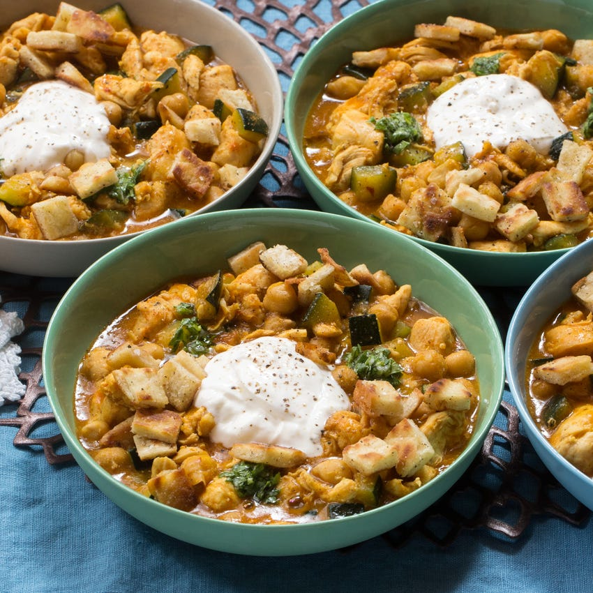 Middle Eastern Chicken & Chickpea Stew with Chermoula & Pita Croutons