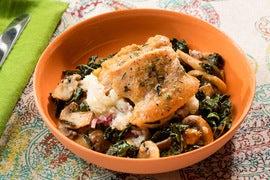 Seared Chicken & Verjus Pan Sauce with Mashed Potatoes, Mushrooms & Kale