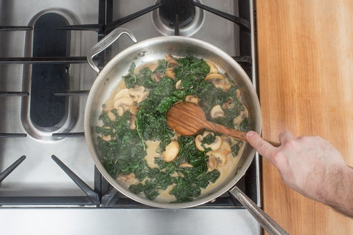 Add the kale & make the sauce: