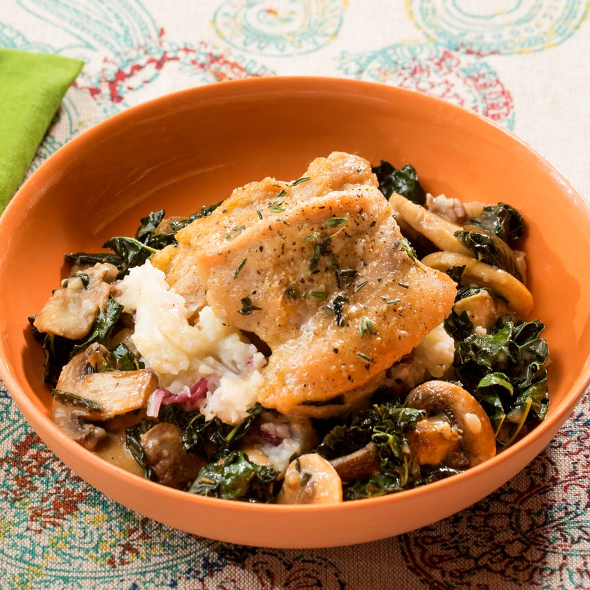 Seared Chicken & Verjus Pan Sauce with Mashed Potatoes, Mushrooms & Kale
