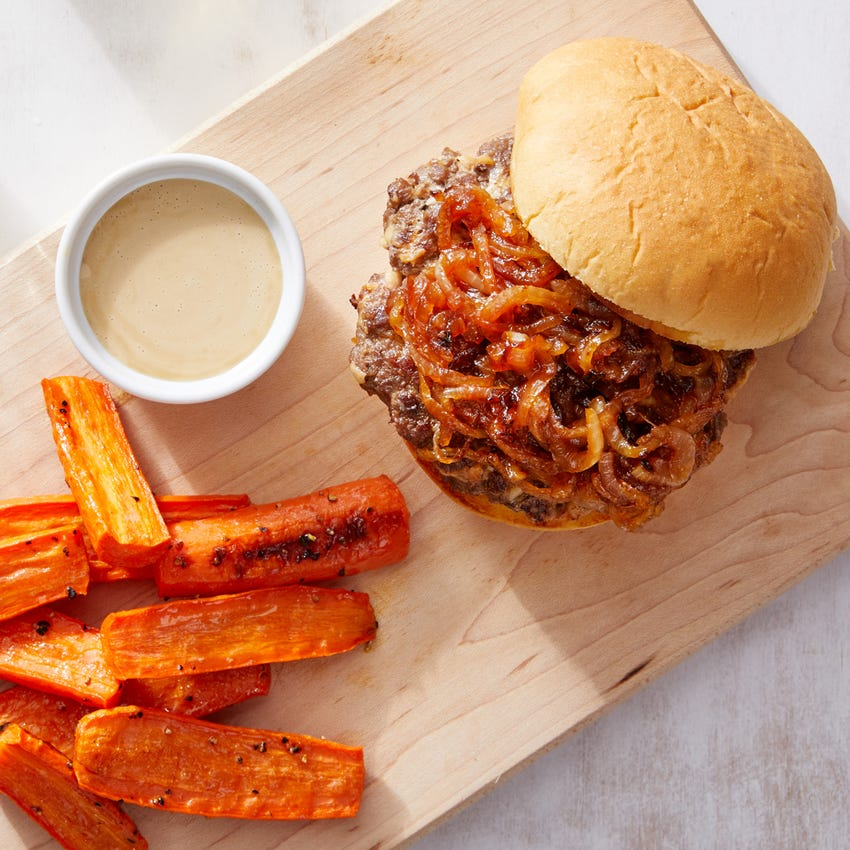 Smoked Gouda Burgers with Caramelized Onion & Roasted Carrots