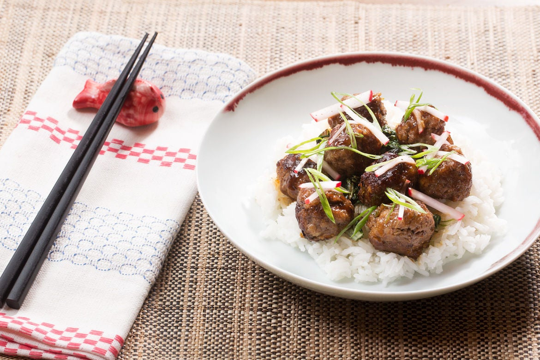 Soy-Glazed Meatballs  with Swiss Chard, Jasmine Rice & Marinated Radish