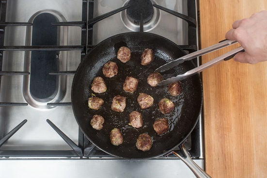 Form & brown the meatballs: