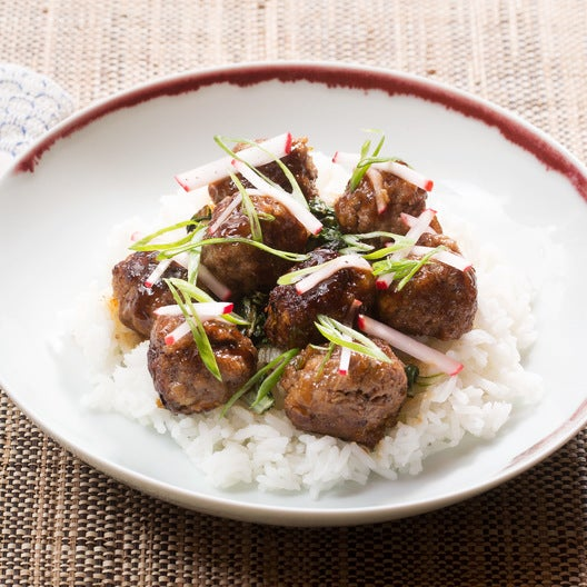 Soy-Glazed Meatballs with Swiss Chard, Jasmine Rice & Marinated Radish