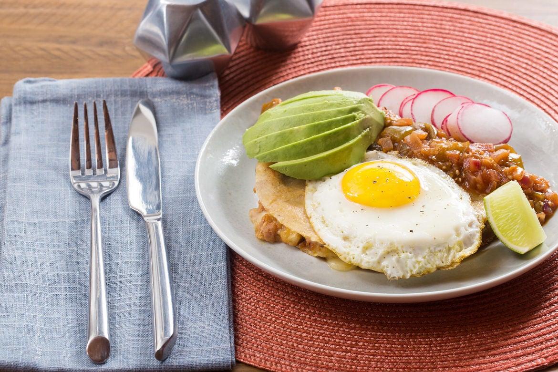 Huevos Rancheros Quesadillas with Tomatillo Salsa & Sunny Side-Up Eggs