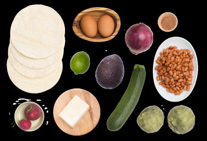 Huevos Rancheros Quesadillas with Tomatillo Salsa & Sunny Side-Up Eggs ingredients
