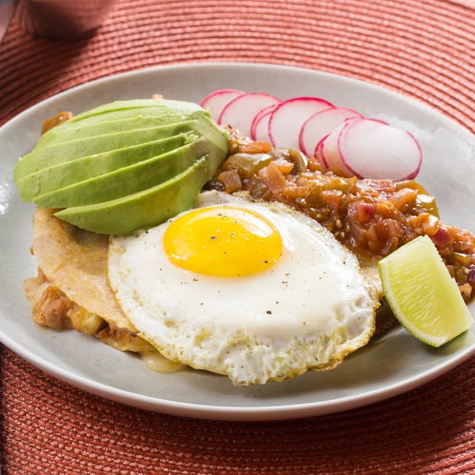 Huevos Rancheros Quesadillas with Tomatillo Salsa & Sunny Side-Up Eggs