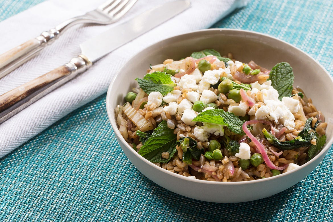 Za'atar-Spiced Fennel & Farro Salad with English Peas, Pea Tips & Pomegranate Molasses