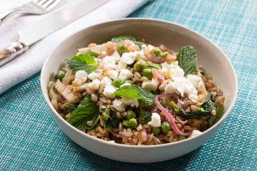 Za'atar-Spiced Fennel & Farro Salad with English Peas, Pea Tips & Pomegranate Molasses