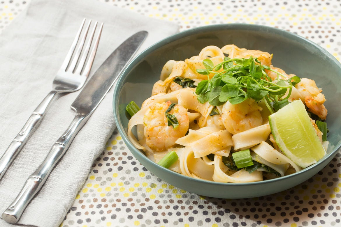 Red Curry & Coconut Shrimp Stir-Fry with Rice Noodles & Pea Shoots