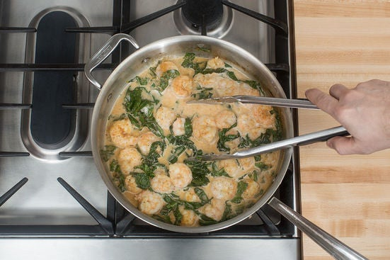 Add the shrimp & coconut milk: