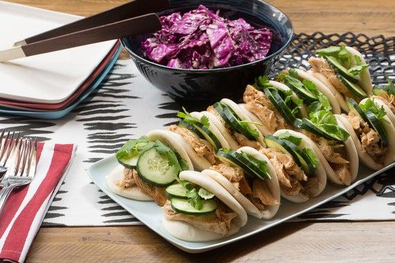 Hoisin Chicken Steam Buns with Miso-Sesame Slaw, Cucumber & Cilantro