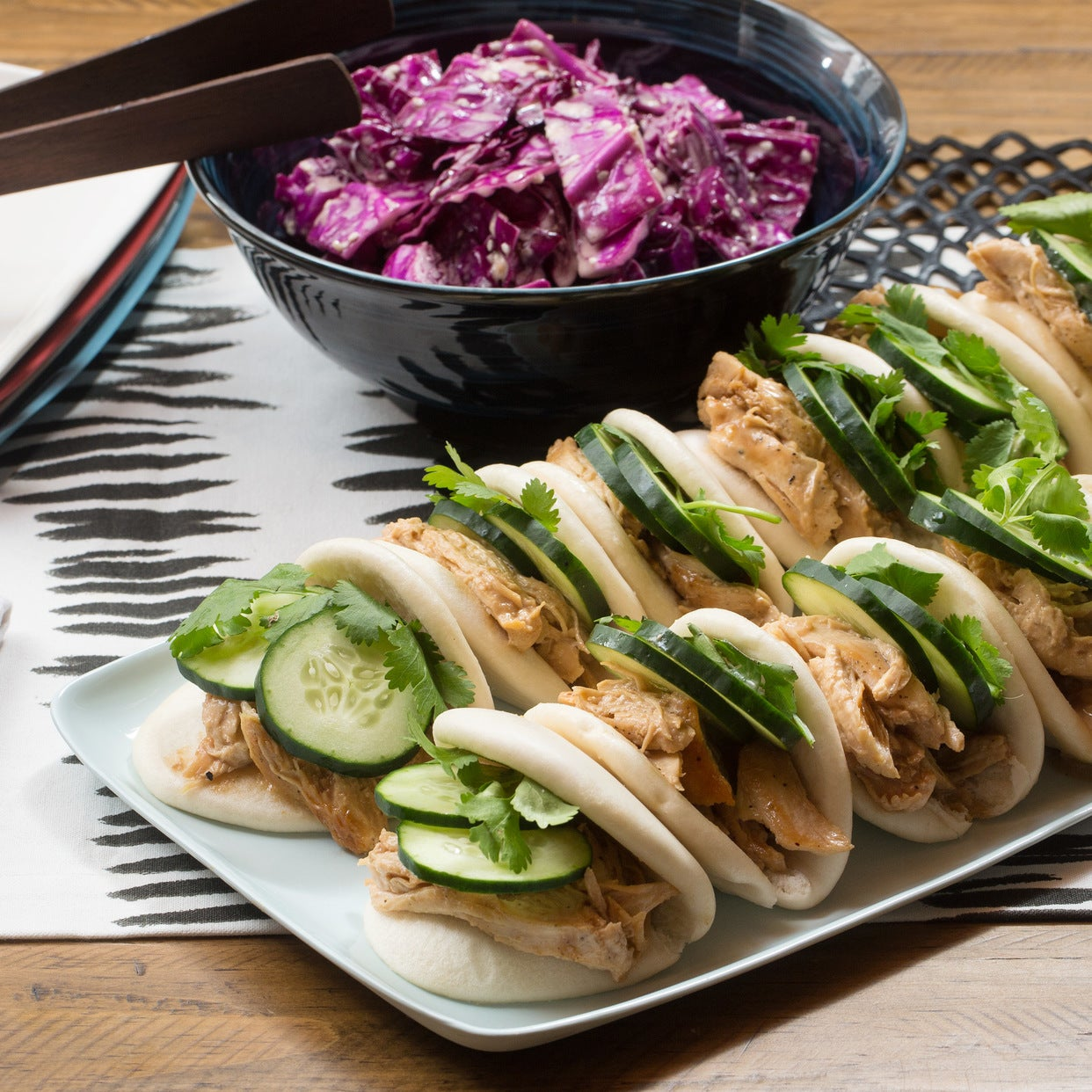 Hoisin Chicken Steam Buns with Miso-Sesame Slaw, Cucumber & Cilantro