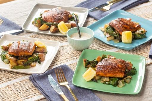 Seared Salmon & Lemon Aioli with Red Potato, Asparagus & Collard Green Hash
