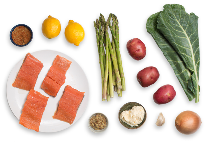 Seared Salmon & Lemon Aioli with Red Potato, Asparagus & Collard Green Hash ingredients