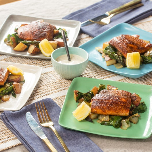 Seared Salmon & Lemon Aioli with Red Potato, Asparagus & Collard Green Hash