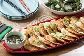 Crispy Shiitake-Ginger Dumplings with Roasted Bok Choy & Sweet Soy Dipping Sauce