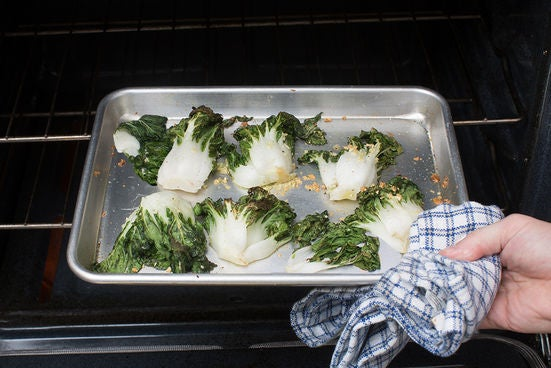 Roast the bok choy: