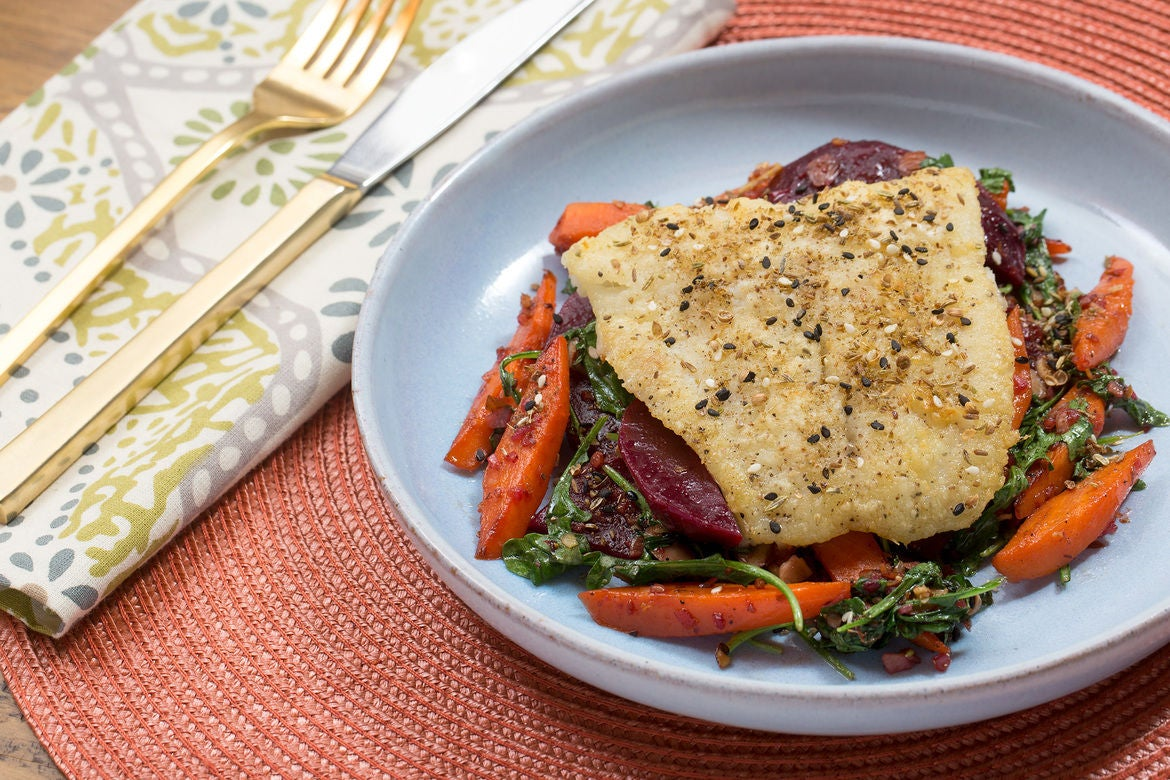 Dukkah-Spiced Cod with Warm Beet, Carrot & Arugula Salad