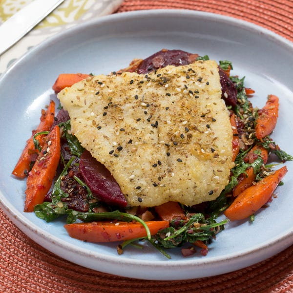 Dukkah-Spiced Cod with Warm Beet, Carrot & Arugula Salad