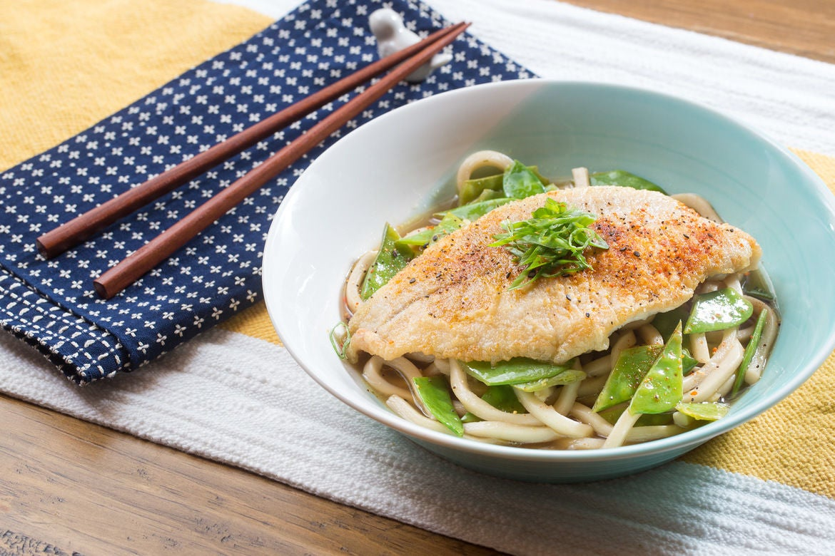 Crispy Catfish & Yuzu-Kosho Udon with Snow Peas