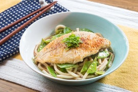 Crispy Catfish & Yuzu-Kosho Udon with Snow Peas