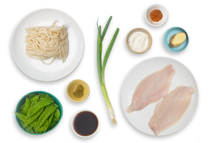 Crispy Catfish & Yuzu-Kosho Udon with Snow Peas ingredients