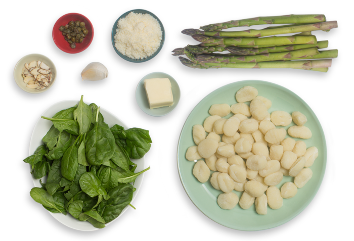 Spinach Pesto Gnocchi with Sautéed Asparagus & Brown Butter ingredients