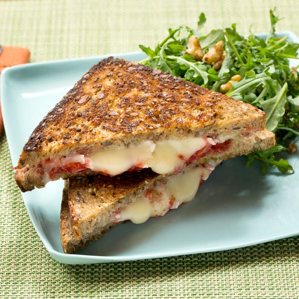 Grilled Brie Cheese & Strawberry Jam Sandwiches with Arugula & Walnut Salad