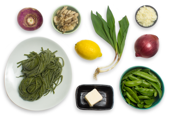 Fresh Spinach Linguine with Ramps, Sugar Snap Peas & Crispy Oyster Mushrooms ingredients