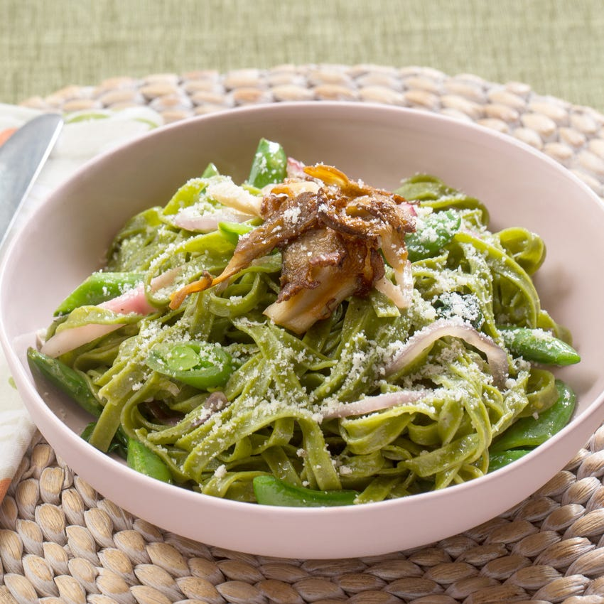 Fresh Spinach Linguine with Ramps, Sugar Snap Peas & Crispy Oyster Mushrooms