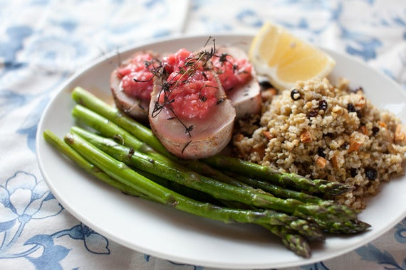 Pork Tenderloin with Rhubarb Chutney & Asparagus